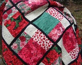 Lap Quilt Roses Carnations Throw Blanket
