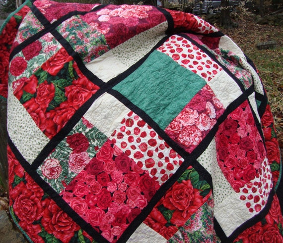 Lap Quilt Roses Carnations