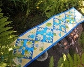 Quilted Table Runner in Canary Yellow and Deep Sky Blue