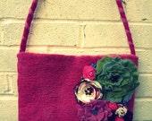SALE~SALE~PInk/ wet felted  bag / purse/ seamless/ unique/ 100% Merino wool/ flower applique design