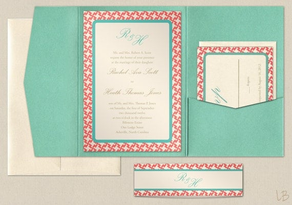 Turquoise And Coral Wedding Invitations: Items Similar To Aqua And Coral Pocket Wedding Invitation