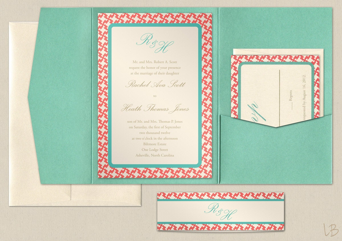 Blue And Coral Wedding Invitations: Aqua And Coral Pocket Wedding Invitation Sample By