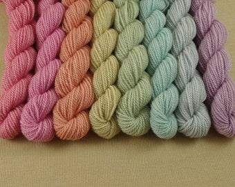 Mini Skeins Pastel Autumn Sampler - Set of 8 - Hand Dyed Fingering Sock Weight Yarn - 100% Fine Organic Merino Wool Yarn