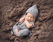 Download PDF crochet pattern s002 - Newborn pixie bonnet and pants with suspenders