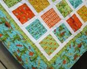 Baby Boy Quilt Meadow Friends Crib Bedding Toddler Blanket Blue Green