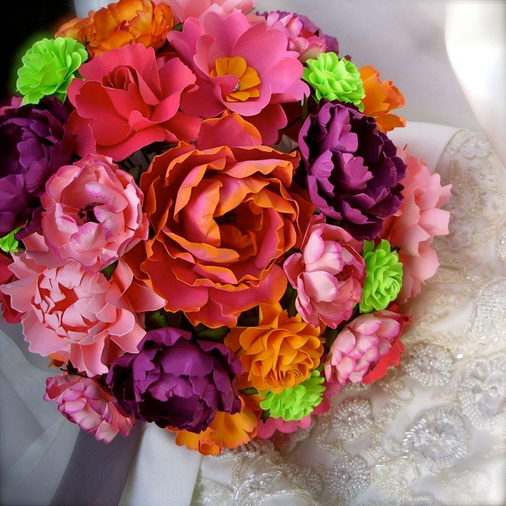 Handmade Paper Flower Wedding Bouquet Customize By PAPERandPEONY