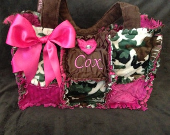 New Camo Hot Pink Rag Quilted Diaper Bag handbag Purse for baby girl Custom made