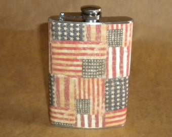 On SALE Ready to Ship Old Glory American Flag Patriotic Print Stainless Steel 8 Ounce Gift Flask KR2D 6329