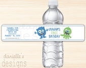Personalized Birthday Water Bottle Labels with Blue and Green Monsters Theme - 1st Birthday - 35 labels