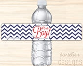 "Navy Blue and Red Modern Chevron ""It's a Boy"" Waterproof Water Bottle Labels - 35 Labels"