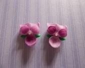 Medium Purple Violet with Chaton Rhinestone Center Flowers 14 X 12mm Cabochons - Qty 2