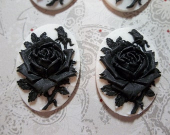 Blooming Black Rose Flower on White Cameo - 25 X 18mm Plastic Cabochons - Qty 6