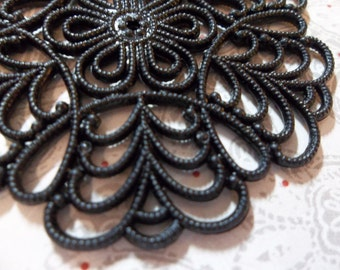 Large 55mm Round Black Lucite Lacy Filigree Connector or Pendant - Qty 4