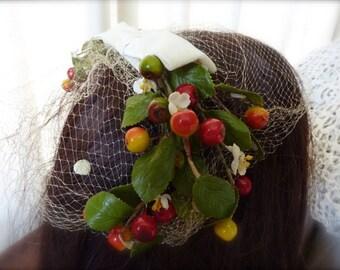 Vintage Birdcage Veil Headband Hat velvet bow fruit leaves flowers