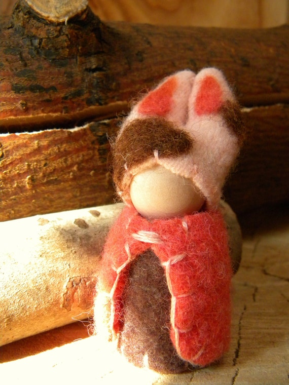 ON SALE- Waldorf Peg Doll, Bunny Gnome, Rabbit, Easter gift, Easter basket, Spring, pink, coral, brown, off white