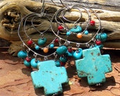 turquoise . coral . howlite cross . sterling silver . earrings