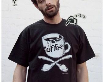 SALE black coffee tshirt man shirt urban street girl sugar sexy punk goth rock t-shirt tee S M L XL