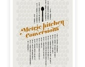 Kitchen Conversions Metric Art Poster, Light Gray Kitchen Art - Kitchen Posters - Typography posters - 13x19