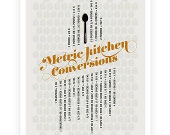 Kitchen Conversions Metric Art Poster, Light Gray Kitchen Art - Kitchen Posters - Typography posters - 13x19