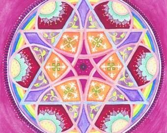 Strength Mandala - Fine Art Signed Print - Mandalamagic1 Original Mandala Art - Rainbow Art - Colorful Art - Home Decor - Wall Art