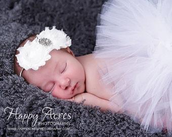 WHITE NEWBORN TUTU with shabby chic headband....newborn tutu, baby tutu, 1st birthday tutu, photography prop