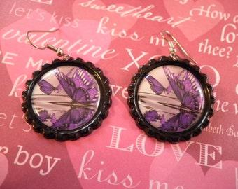 Purple Butterfly On Water Bottlecap Earrings