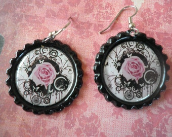 Pink Rose with Black Abstract Earrings