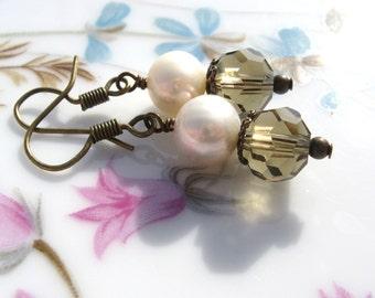 White Pearl and Smokey Topaz Swarvoski Crystal Earrings