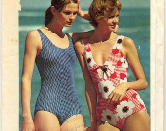 """Vintage Knit Bathing Suits Sewing Pattern - Simplicity 6403 - Size 12 - Bust 34"""""""