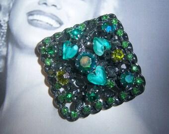 Austria Signed 1950's Japanned Heart Shaped Art Glass Stone Brooch