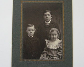 Victorian Photograph Portrait Brothers and Sister Collectible Antique Family