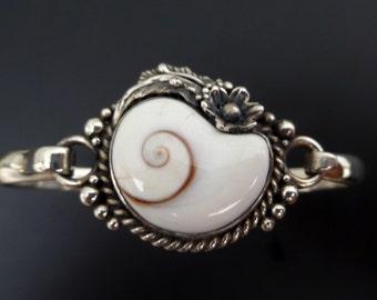 Handmade Sterling Silver and Shiva Eye Shell Bracelet - Original Shell Bangle with Shiva Eye Shell - Custom Made - Made to Order Bracelet