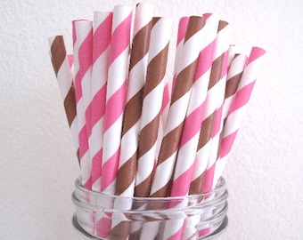 50 Pink Chocolate Brown Combo Striped Paper Straws / Wedding Birthday Baby Shower Party / Cake Pops