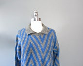 Chevron Knit Sweater, Geometric, Oversize, Blue & Gray