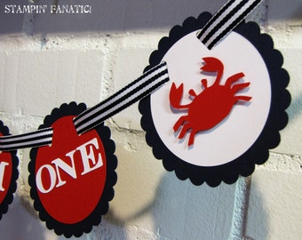 """Sailing Boy Collection- """"I am One"""" High Chair Banner with crabs. Nautical theme. Mini Banner. Nautical Birthday. Navy & Red."""