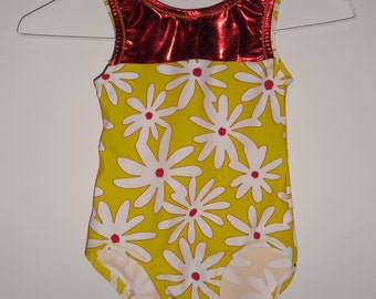 Girls yellow and red daisy leotard
