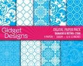 Blue Digital Paper Pack Blue Damasks Turquoise Damask and Retro Quatrefoil Pattern Instant Download Printable