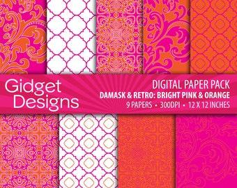 Pink Digital Paper Pack Pink and Orange Damask Quatrefoil Patterns Scrapbook Paper Printable Paper
