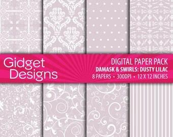 Purple Digital Paper Pack Damasks Lilac Instant Download Printable Bridal Shower Announcement Sweet 16 Engagement