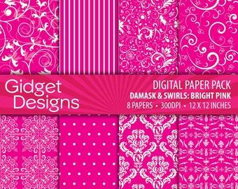 Pink Digital Paper Pack Damask Patterns Floral Scrapbook Paper Digital Website Background