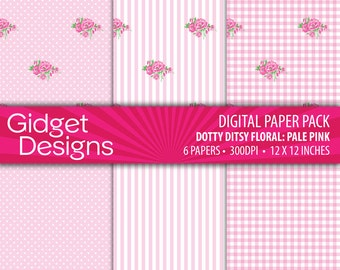 Pink Digital Paper Pack Gingham Patterns Pink Flowers Shabby Chic Scrapbook Paper Printable Paper