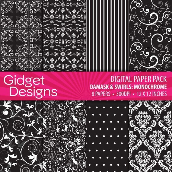 Black and White Digital Paper Damask Monochrome INSTANT DOWNLOAD Printable
