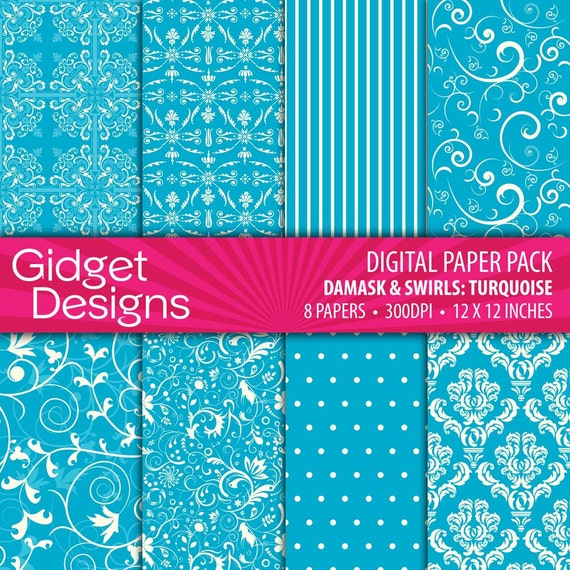 Turquoise Digital Paper Pack Turquoise Damask Patterns Instant Download