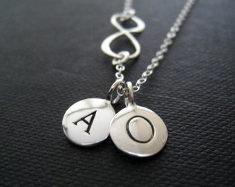 Best friends gift, Personalized infinity necklace, initial charm, you and me, bff, friendship
