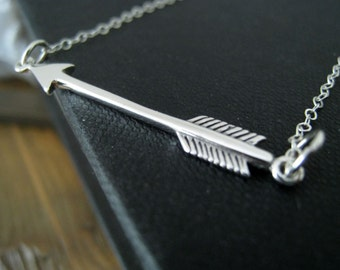 Silver Arrow necklace, Sideways Arrow necklace, sterling silver arrow pendant, nymetals, greek, archery