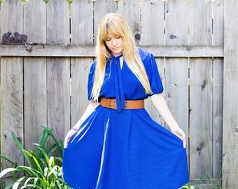 80s Dress Blue Secretary Dress