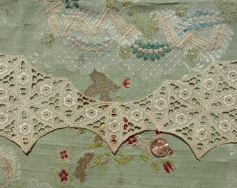 Antique vintage cotton lace applique trim piece edwardian flapper dress trim embroidered