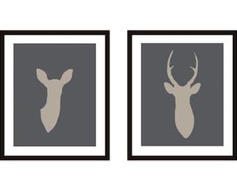 Deer Antlers Digital Print Set -  Modern Rustic Woodland Home Decor - Deer and Doe Couple - Wedding Gift
