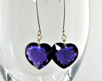 LP 962  Deep Grape Purple Amethyst Heart OOAK Earrings
