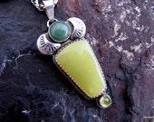 RESERVED FOR YR:  Green Jade Thunderbird Sterling Pendant